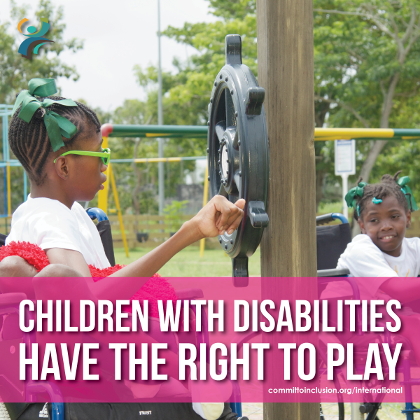 Photo of a child with disability playing in a playground, with the slogan - 'Children with disabilities have the right to play'