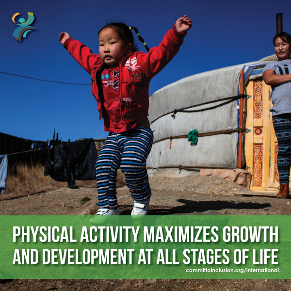 Photo of a kid jumping, with the slogan 'Physical activity maximizes growth and development at all stages of life'.