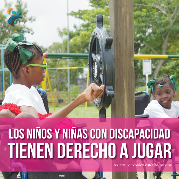 Photo of a child with disability playing in a playground, with the slogan - 'Los niños y niñas con discapacidad tienen derecho a jugar.'